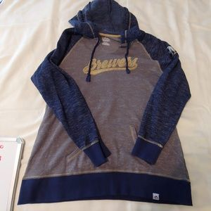 Mens Large Majestic Milwaukee Brewers hoodie gray